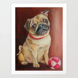 PUG DOG portrait Cute pet with ball Oil painting on canvas Art Print