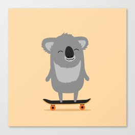 Cute cartoon koala skateboarding Canvas Print