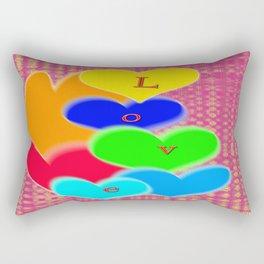 coloured love hearts Rectangular Pillow