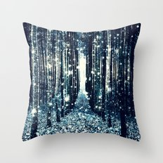 Magical Forest Teal Gray Elegance Throw Pillow