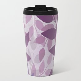 Purple and Violet Abstract Leaves Travel Mug