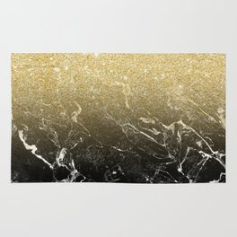 Modern girly luxurious faux gold glitter black marble pattern Rug