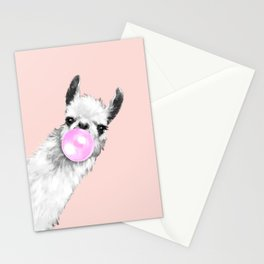 Bubble Gum Black and White Sneaky Llama in Pink Stationery Cards
