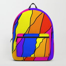 Slanting repetitive lines and rhombuses on bright yellow with intersection of glare. Backpack