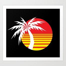 Red Sun Palm Art Print