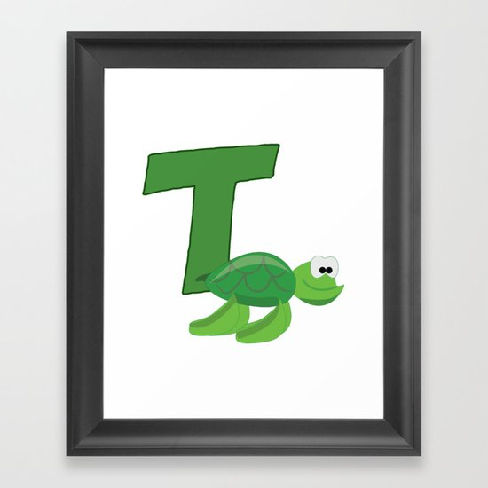 T Is For Turtle Framed Art Print