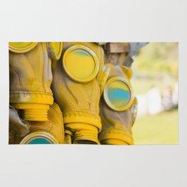 Yellow gas mask Rug