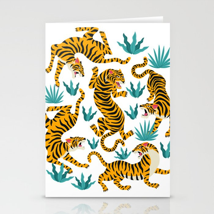 Tigers dance in tropical forest illustration Stationery Cards