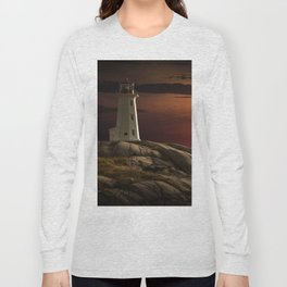 Lighthouse at Sunset in the Peggy's Cove Long Sleeve T-shirt