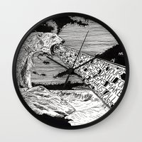 polar bear Wall Clocks featuring Polar Bear by Meredith Mackworth-Praed