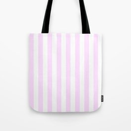 Narrow Vertical Stripes - White and Pastel Violet Tote Bag