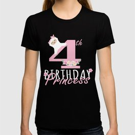 4th Birthday Princess Llama Girl Llamazing 4 Years Old Party print T-shirt