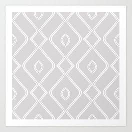 Modern Boho Ogee in Grey Art Print
