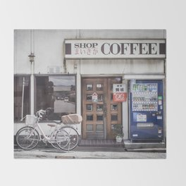 Bike and Coffee Shop in Kyoto Throw Blanket