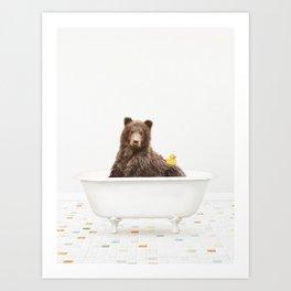 Bear with Rubber Ducky in Vintage Bathtub Art Print