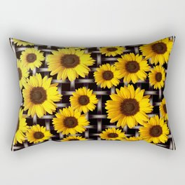 Bright Yellow Sunflower and Industrial Grid Pattern Rectangular Pillow