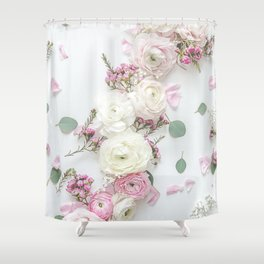 SPRING FLOWERS WHITE & PINK Shower Curtain
