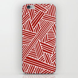 Abstract Navy Red & White Lines and Triangles Pattern iPhone Skin