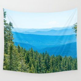 Artistic Brush // Grainy Scenic View of Rolling Hills Mountains Forest Landscape Photography Wall Tapestry