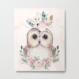 Forest Owl Floral Pink by Nature Magick Metal Print