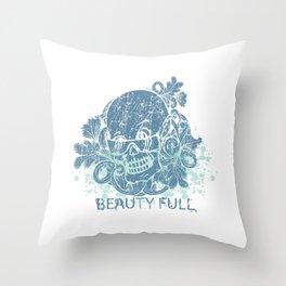 Beauty Full Cool Tropical Skull Throw Pillow