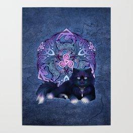 Celtic Fluffy Black Cat Poster
