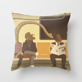 Dino Subway Throw Pillow