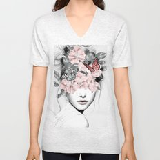 WOMAN WITH FLOWERS 10 Unisex V-Neck