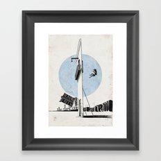 Woman Falls into the Dark Side of a Dream  Framed Art Print