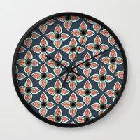 boho Wall Clocks featuring Navy Boho by Allyson Johnson