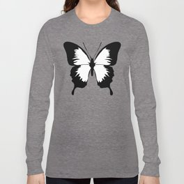 Butterfly, Black and White Butterfly. Long Sleeve T-shirt