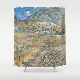 Enclosed Field with Peasant by Vincent van Gogh, 1889 Shower Curtain