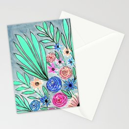Coral Pink Blue Green Watercolor Flower Art Stationery Cards