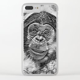 AnimalArtBW_Chimpanzee_20170602_by_JAMColorsSpecial Clear iPhone Case