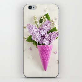 lilac flowers in ice cream cone iPhone Skin
