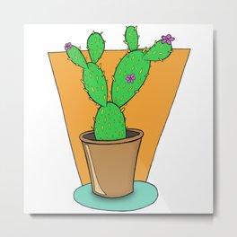 Cacti with Flowers Metal Print