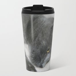 Close Up Portrait Of A Relaxed Grey Cat  Travel Mug