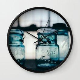 Blue Mason Jars Wall Clock