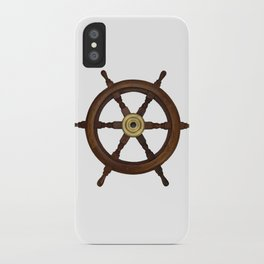 old oak steering wheel for ship or boat iPhone Case