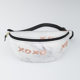 XOXO Text Rose Gold on Marble Fanny Pack