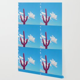 Pink Saguaro Against Blue Cloudy Sky Wallpaper