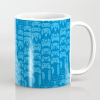 video game Mugs featuring Video Game Controllers - Blue by C.Rhodes Design