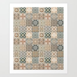 N49 - Oriental Traditional Moroccan Farmhouse Style Texture Artwork. Art Print