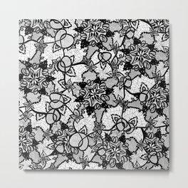 Elegant floral black hand drawn lace pattern Metal Print