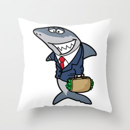 MEAN Business SHARK Suit and Tie Broker Trader Throw Pillow