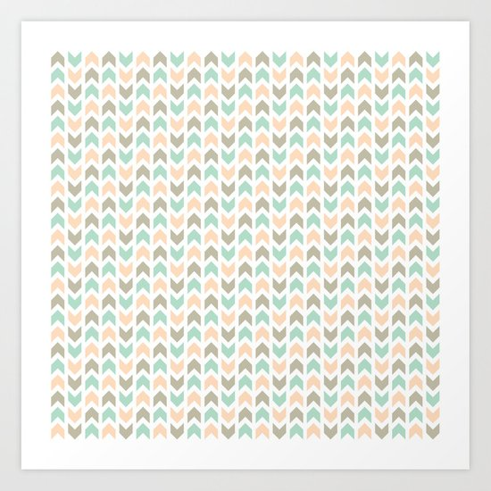 Pattern: Olive + Peach Arrows Art Print