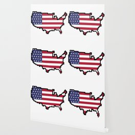 8-Bit United States of America Map and Flag Wallpaper