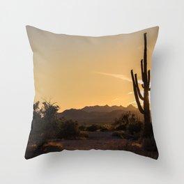 Saguaro Sunset Salute Throw Pillow
