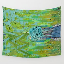 Green Turquoise Jagged Abstract Art Collage Wall Tapestry