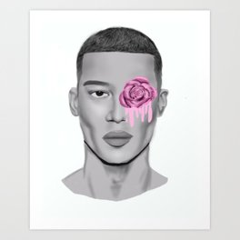 BOY WITH ROSE Art Print